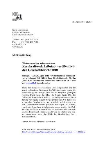 Medienmitteilung vom 28. April 2011 - Kernkraftwerk Leibstadt AG