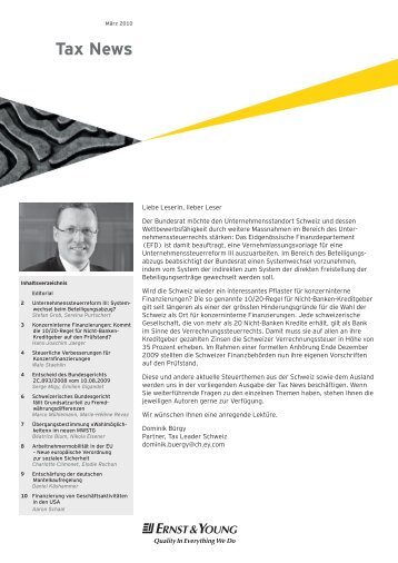 Tax News – März 2010 - Home - Ernst & Young - Schweiz
