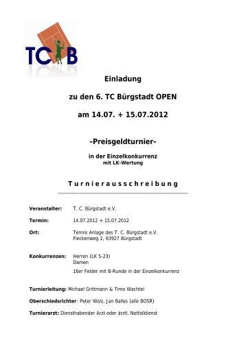 Ausschreibung (pdf) - TC Bürgstadt