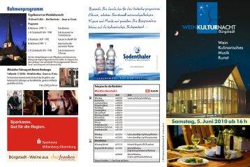 Samstag, 5. Juni 2010 ab 16 h - Weinkulturhaus Bürgstadt
