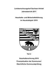 Jahresbericht 2011 Teil 2 - Landesrechnungshof Sachsen-Anhalt