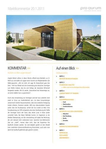 Marktkommentar 20.1.2011 KOMMENTAR >> Auf einen ... - pro aurum
