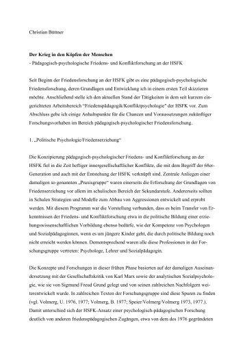 Der Krieg in den Köpfen der Menschen - Prof. Dr. Christian Büttner