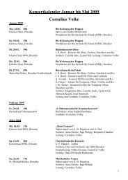 Konzertkalender Januar bis Mai 2009 Cornelius Volke