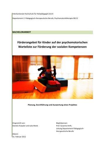 Förderangebot für Kinder auf der psychomotorischen ... - BSCW