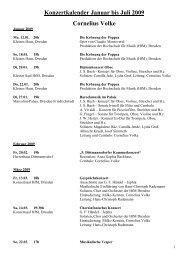 Konzertkalender Januar bis Juli 2009 Cornelius Volke