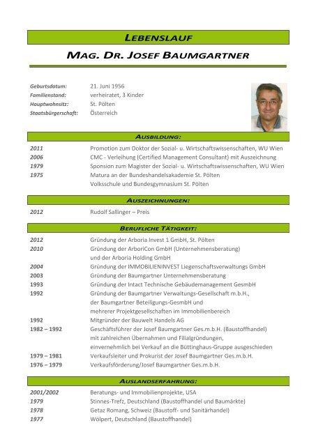 Lebenslauf Mag Dr Josef Baumgartner Arboricon