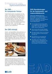 Entsorgung von Speiseabfällen Der EAD – Ihr kompetenter Partner
