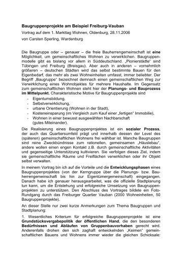 Baugruppenprojekte am Beispiel Freiburg-Vauban - Carsten Sperling