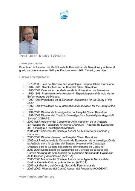 Prof. Juan Rodés Teixidor - Fundación Pfizer