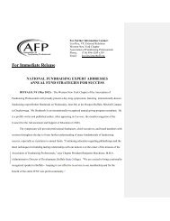AFP Press Release - Association of Fundraising Professionals