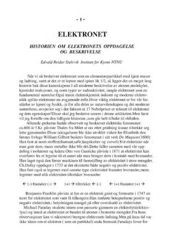 elektronet historien om elektronets oppdagelse og beskrivelse - NTNU