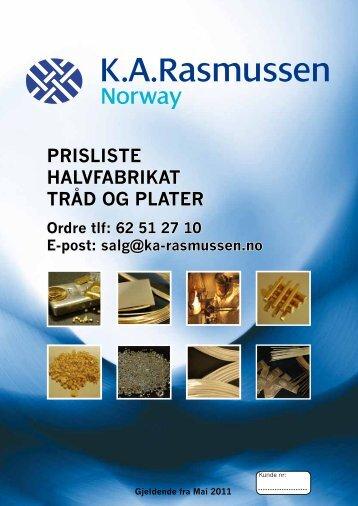 PRISLISTE HALVFABRIKAT TRÅD OG PLATER - K.A.Rasmussen