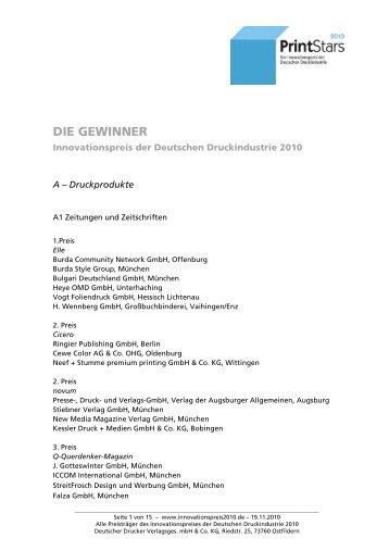 DIE GEWINNER - Innovationspreis 2012