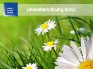 Vereinfachte Umwelterklärung 2012 Standort Offenburg - Burda Druck