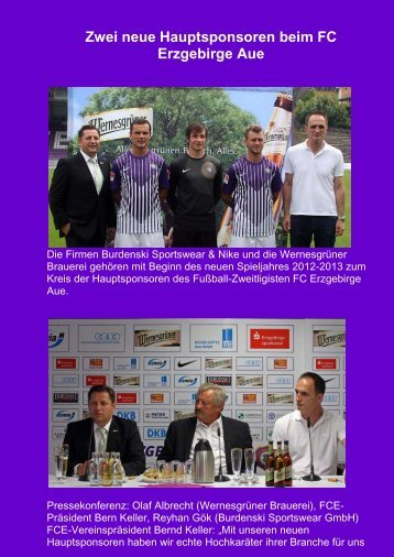 Zwei neue Hauptsponsoren beim FC Erzgebirge Aue - VEB-Aue