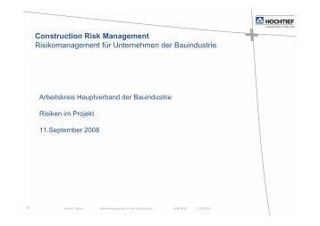 Construction Risk Management Risikomanagement für ... - BWI-Bau