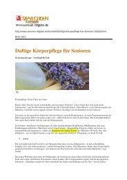 Duftige Körperpflege für Senioren - Dr. Zenker Dermatologie