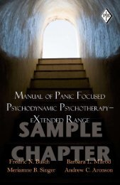 Manual of Panic Focused Psychodynamic Psychotherapy - Routledge