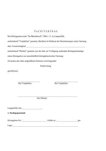 "P A C H T V E R T R A G Der Kleingartenverein ""Im Bärenbusch ..."