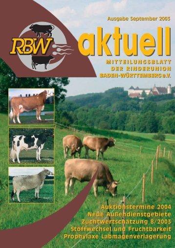 RBW aktuell Ausgabe September 2003 - Rinderunion Baden ...