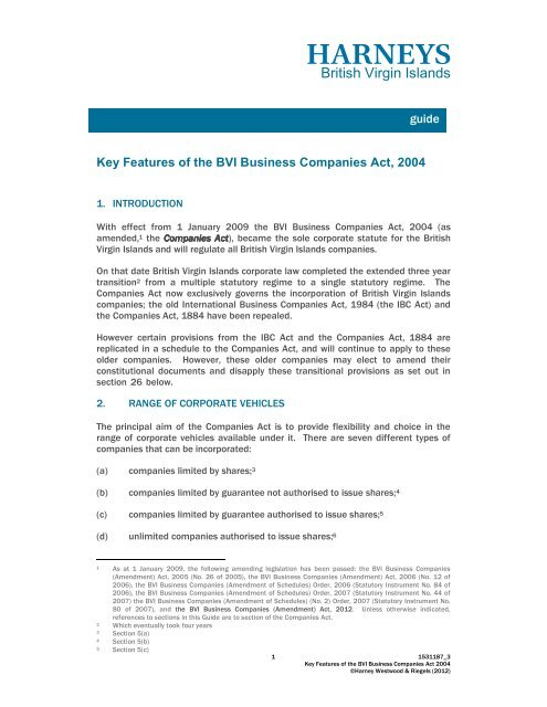 Bvi Business Companies Act Harney S