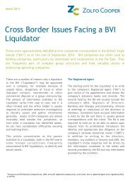 Article - Cross Border Issues Facing a BVI Liquidator - Zolfo Cooper