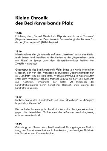 Kleine Chronik des Bezirksverbands Pfalz - Bezirksverband Pfalz