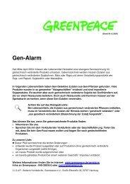Gen-Alarm - Greenpeace Gruppen in Deutschland