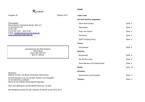 RdbriefOkt12 - Elterninitiative herzkranker Kinder, Köln eV