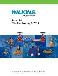Price List Effective January 1, 2013 - Zurn