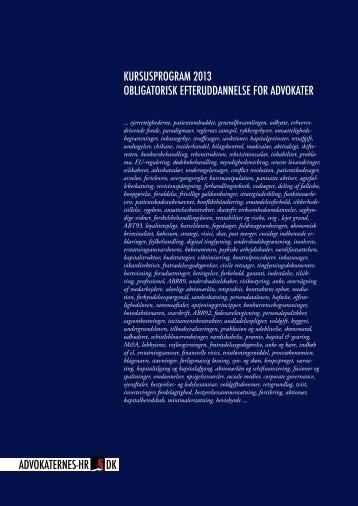 Kursuskatalog, udsendt januar 2013 - Advokaternes HR