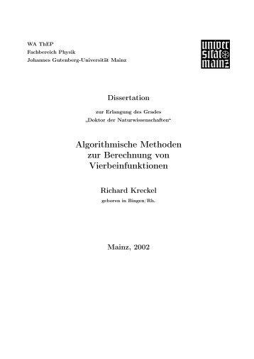Algorithmische Methoden zur Berechnung von Vierbeinfunktionen