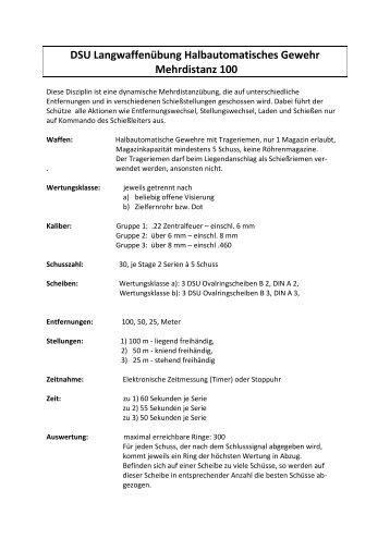 DSU Langwaffenübung Halbautomatisches Gewehr Mehrdistanz 100