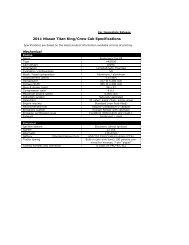 2011 Nissan Titan King/Crew Cab Specifications - Nissan Trucks