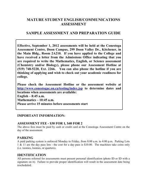 Mature student english/communications assessment sample