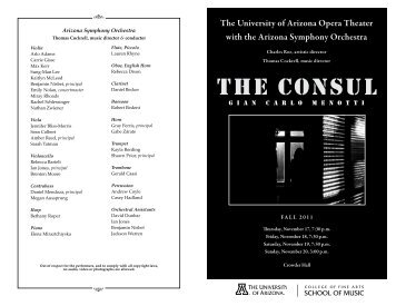 The consul - School of Music - University of Arizona