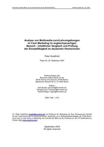Analyse von Multimedia-Lern/Lehrumgebungen im Fach Marketing ...