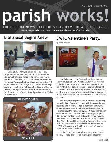 eMHC Valentine's party. - St. Andrew the Apostle Parish