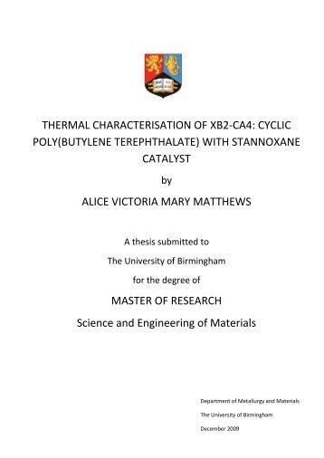 Thermal Characterisation of XB2-CA4: Cyclic Poly(Butylene ...