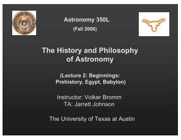 The History and Philosophy of Astronomy - Astronomy Program ...
