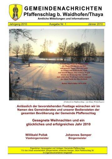 Gemeindenachrichten Jänner 2010 - Gemeinde Pfaffenschlag bei ...