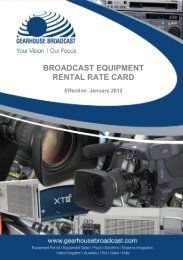 Broadcast equipment rental rate card - broadcasting - Gearhouse