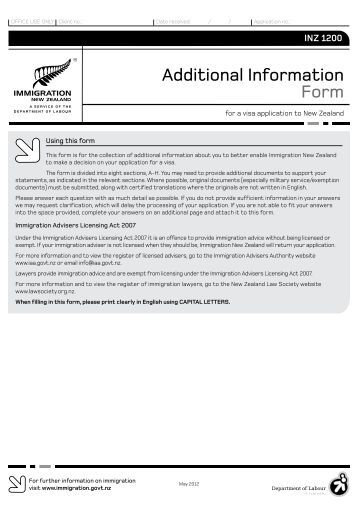 Additional Information Form (INZ 1200) PDF - Immigration New ...