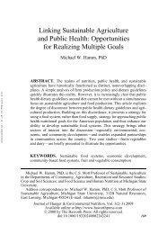Linking Sustainable Agriculture and Public Health: Opportunities for ...