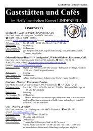 Gaststättenliste aktuell - Lindenfels