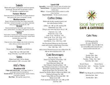 Download and print our deli menu. - Local Harvest Grocery