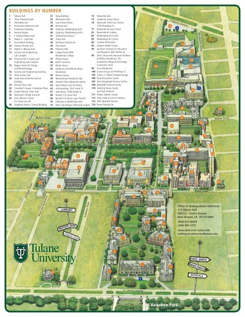 a map of Tulane's campus   Tulane University Admission