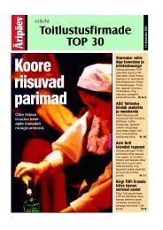 Toitlustusfirmade TOP 30 - Leht - Äripäev