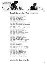 Great Revolution Tour (bisherige Termine) www ... - The Giants